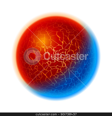 Fire and ice ball planet stock photo, Fire and ice ball planet.  Illustration on white background  by dvarg