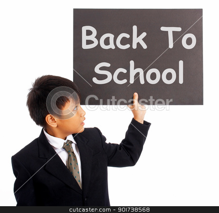 Back To School Sign As Education Symbol  stock photo, Back To School Sign With Boy As Symbol For Education And Learning by stuartmiles