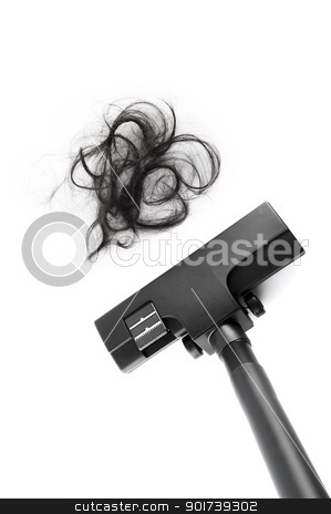 Vacuum Cleaning stock photo, Vacuum cleaning fall hair on white background by szefei