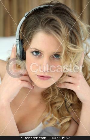Blond woman with headphones audio stock photo, Blond woman with headphones audio by photography33