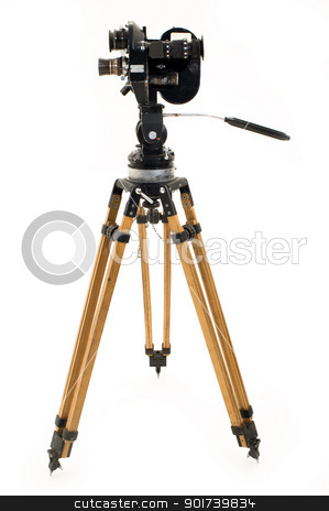 The movie camera and tripod. stock photo, Professional 35 mm the film-chamber on a white background. by Yury Ponomarev
