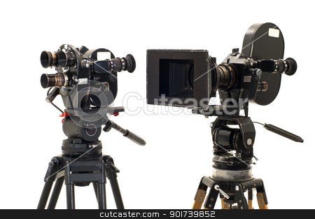 Two professional 35 of the film-chamber. stock photo, Two professional 35 of the film-chamber and tripod. by Yury Ponomarev