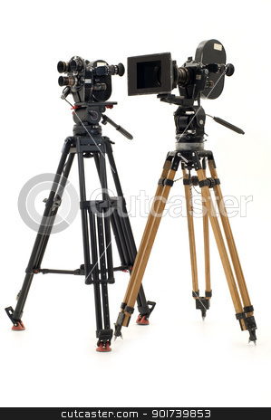 Two professional 35 of the film-chamber and tripod. stock photo, Two professional 35 of the film-chamber on a white background. by Yury Ponomarev