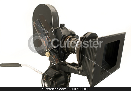 Professional 35 mm the movie camera. stock photo, Professional 35 mm the film-chamber on a white background. by Yury Ponomarev