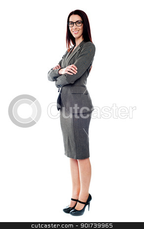 Sucessful businesswoman posing with folded arms stock photo, Beautiful sucessful businesswoman with folded arms isolated on white background by Ishay Botbol