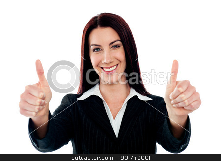 Confident businesswoman showing double thumbs-up stock photo, Confident businesswoman showing double thumbs-up isolated over white by Ishay Botbol