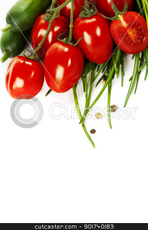Tomatoes, chives and cucumbers stock photo, Tomatoes, chives and cucumbers over white by klenova