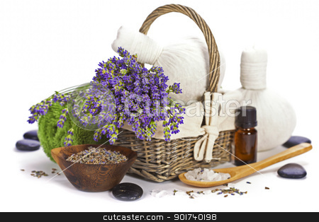 lavender spa stock photo, lavender spa (fresh lavender flowers in a basket,  essential oil, salt,  Herbal massage balls, zen stones) over white by klenova