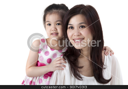 Mother and daughter stock photo, Mother and daughter on white background by szefei