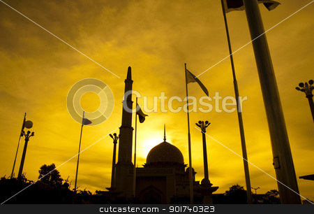 Silhouette of a mosque stock photo, Silhouette of Putra Mosque in sunset. Putrajaya, Malaysia. by szefei