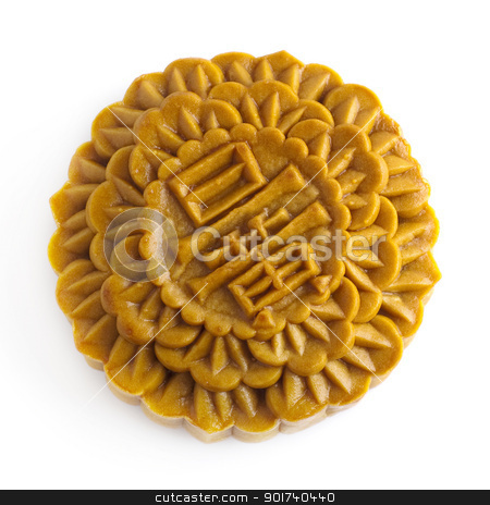 Chinese Mooncake stock photo, Chinese Mooncake isolated over white background, the Chinese words on the mooncake means yolk. by szefei