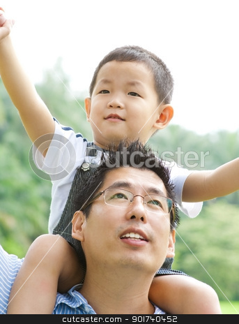 Father & Child stock photo, A father playing with his child on a nice summer day. by szefei