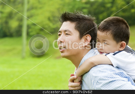 Father & Child stock photo, A father and child on a nice summer day. by szefei