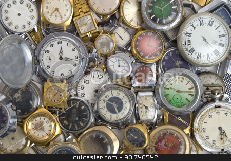 Hours, mechanisms, time. stock photo, Old mechanical and electronic watch on a light background. by Yury Ponomarev