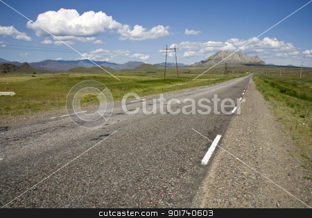 Empty highway. stock photo, Empty highway, blue sky, clouds. by Yury Ponomarev