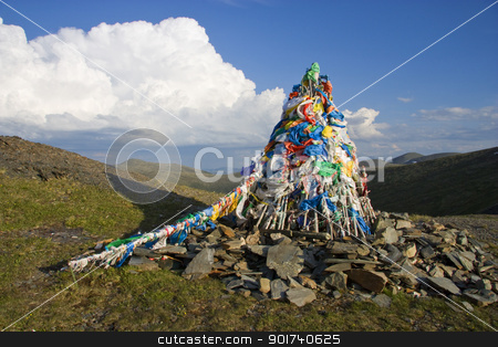 Prayer flags. stock photo, Colorful prayer flags in mountains. by Yury Ponomarev
