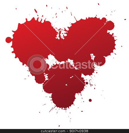 red splash heart stock vector clipart, Red splashing blood drops heart symbol, vector illustration. by antkevyv