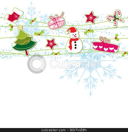 Christmas ornament greeting card stock vector clipart, Christmas ornament greeting card by meikis