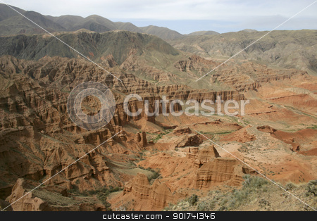 Red canyon. stock photo, Valley of red mountains. by Yury Ponomarev