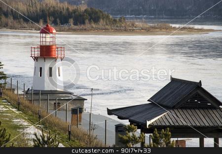 Beacon. stock photo, White beacon on a coast. by Yury Ponomarev