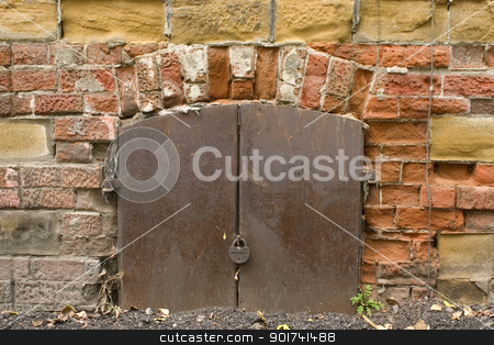 Old brick wall. stock photo, Old brick wall, metal door with the lock. by Yury Ponomarev