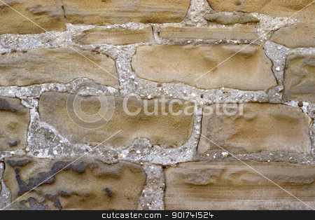 Stone wall stock photo, Old wall from a grey stone. by Yury Ponomarev
