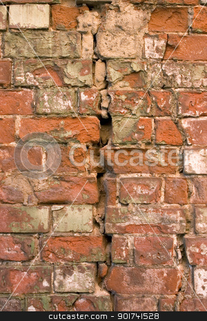Old brick wall. stock photo, The damaged brick wall. by Yury Ponomarev