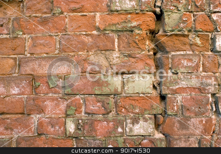 Old wall from a red brick. stock photo, The damaged brick wall. by Yury Ponomarev