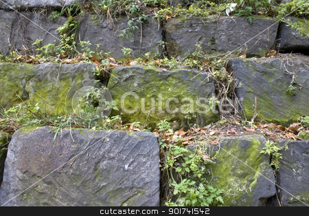 Wall from a natural stone. stock photo, Stone wall, green grass, yellow sheet. by Yury Ponomarev