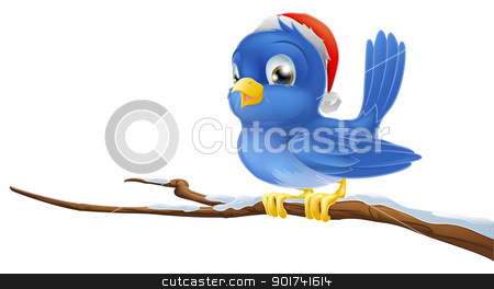 Bluebird in Christmas hat stock vector clipart, A blue bird sitting on snow covered branch wearing a Christmas hat by Christos Georghiou
