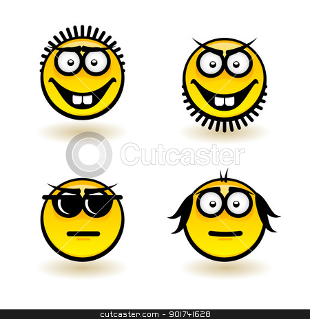 Cartoon faces stock photo, Cartoon faces. Set of fifth. Illustration for design on white background by dvarg