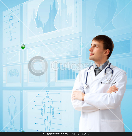 Medicine and technology stock photo, Young doctor in white uniform against technology background by Sergey Nivens