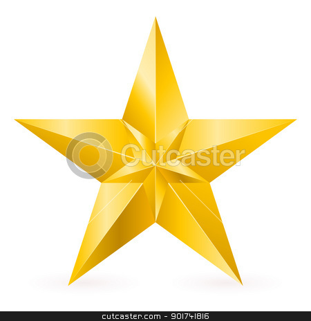 Shiny Gold Star stock photo, Shiny Gold Star. Form of the ninth. Illustration for design on white background by dvarg