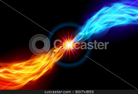 Bright fiery Star stock photo, Star with Red and Blue Flame tail for you design on black by dvarg