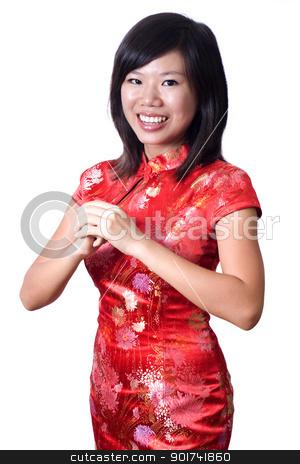 Happy Chinese New Year. stock photo, Oriental girl wishing you a happy Chinese New Year. by szefei
