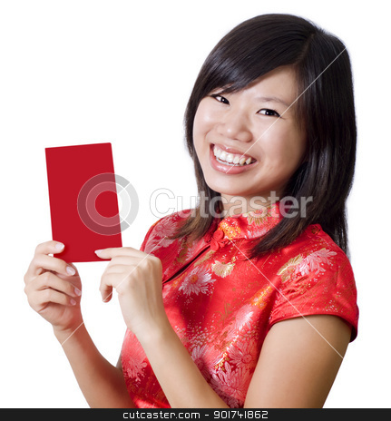Happy Chinese New Year stock photo, Oriental girl with cheongsam wishing you a happy Chinese New Year. Blank envelope ready for text.  by szefei
