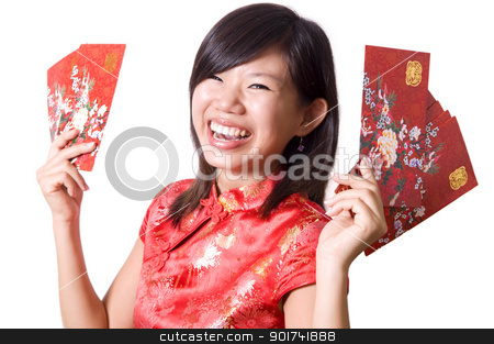 Chinese New Year.  stock photo, Happy oriental girl with cheongsam wishing you a happy Chinese New Year.  by szefei