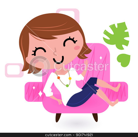 Woman Relaxing In Sofa Isolated On White Stock Vector