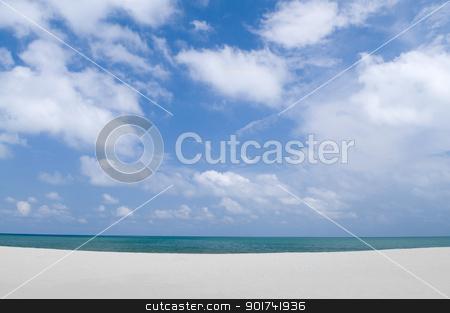 Empty Tropical beach stock photo, Beautiful Empty Tropical beach background, with blue sky.  by szefei
