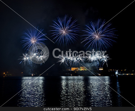Malta Fireworks Festival stock photo, Fireworks over the Grand Harbour - Malta by Lenise Zerafa
