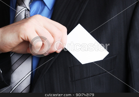 Gentleman showing businesscard stock photo, Businessman holding his business card in hand by Viktor Thaut