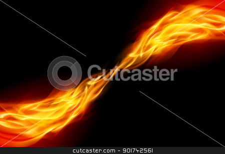Abstract Flame stock photo, Flame tail in Space for You design on black by dvarg