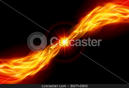 Bright fiery Star stock photo, Star with Flame tail for you design on black by dvarg