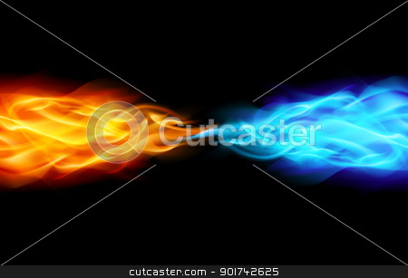 Abstract Flame stock photo, Abstract Flame in Space. Illustration on Black by dvarg