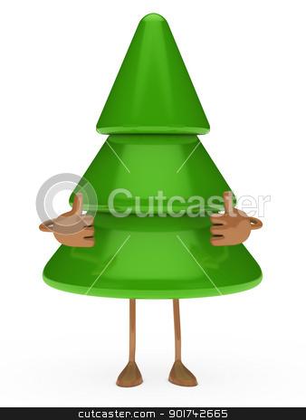christmas tree figure thumbs up stock photo, green christmas tree figure take thumbs up by d3images