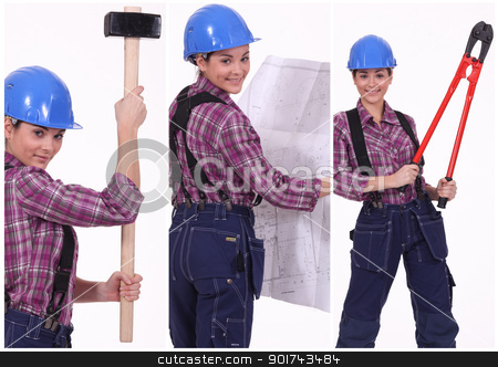 Collage of a tradeswoman at work stock photo, Collage of a tradeswoman at work by photography33