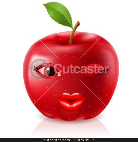 Cartoon Red Apple stock photo, Cartoon Red Apple. Illustration for design on white background by dvarg