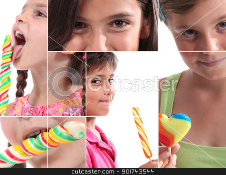 Montage of children with lollipops stock photo, Montage of children with lollipops by photography33