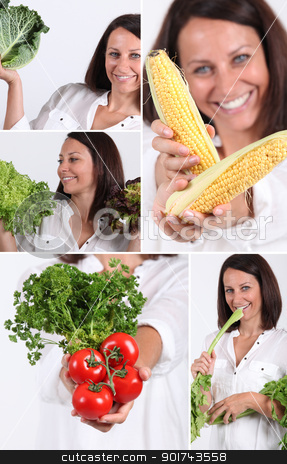 Montage of woman holding a variety of vegetables stock photo, Montage of woman holding a variety of vegetables by photography33