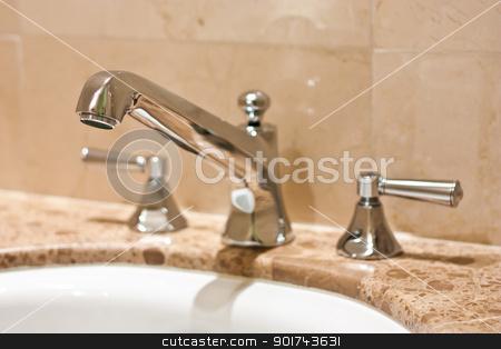 Luxury tap stock photo, Tap in an Italian luxury hotel, steel on marble by Perseomedusa